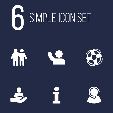 Set Of 6 Support Icons Set.Collection Of Info, Safe Ring, Undertake And Other Elements.