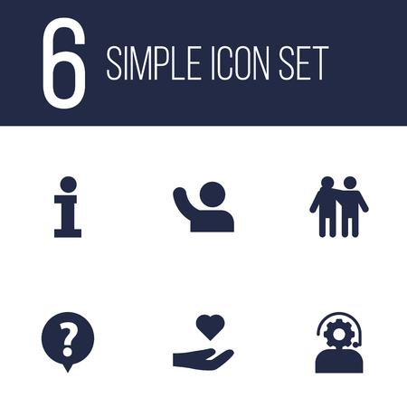 Collection Of Friendship, Undertake, Care; And Other Elements. Set Of 6 Maintenance Icons Set.