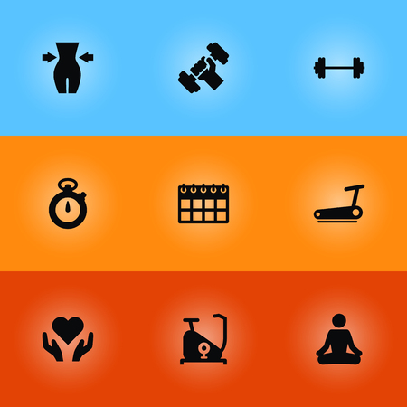 Collection Of Heart In Hand, Slimming, Date Elements.  Set Of 9 Bodybuilding Icons Set.