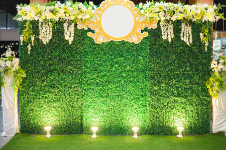 Luxury Indoors Wedding Stage Decorate. backdrop and blank background for input text and symbol