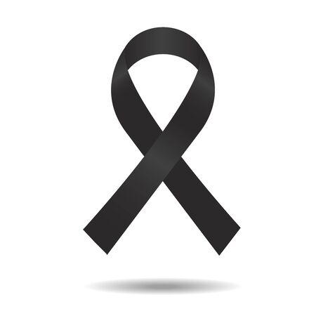 Ilustración de black ribbon, mourning sign, vector ribbon, isolated ribbon - Imagen libre de derechos