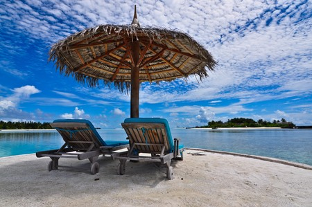 Photo for Beachchair with Umbrella, Maldives - Royalty Free Image