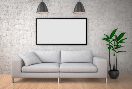 Mock up poster, big sofa, concrete wall background, 3d illustration