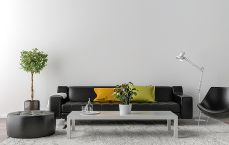 Photo pour Empty living room with white wall in the background. 3D illustration - image libre de droit