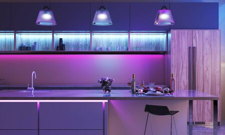Foto für Modern kitchen with colored led lights. Light strip in blue color and three lamps in purple color. Smart House interior - 3D render - Lizenzfreies Bild