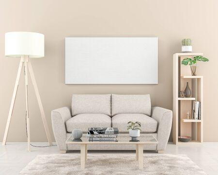 Photo pour Interior wall with one big blank Canvas 180 x 90 cm. 3D render - image libre de droit
