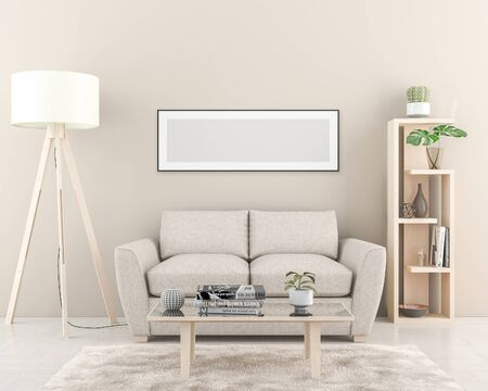Photo for Interior wall with one blank Poster dimension 157 x 53 cm. 3D render - Royalty Free Image