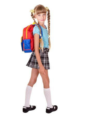 School girl in uniform with backpack. Isolated.