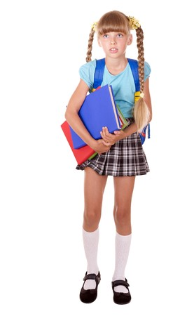 School girl with backpack holding books. Isolated.
