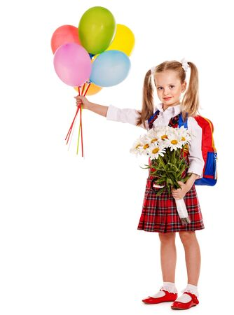 Child with backpack holding balloon. Isolated.
