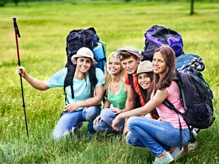 Group people with backpack  summer outdoor.