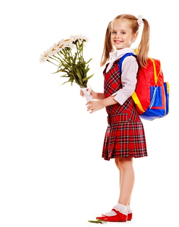 Happy child with backpack holding flower. Isolated.