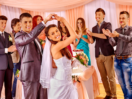 Photo pour Happy group people at wedding dance. - image libre de droit