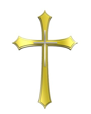Gold Christian cross isolated on white. Computer generated 3D photo rendering.