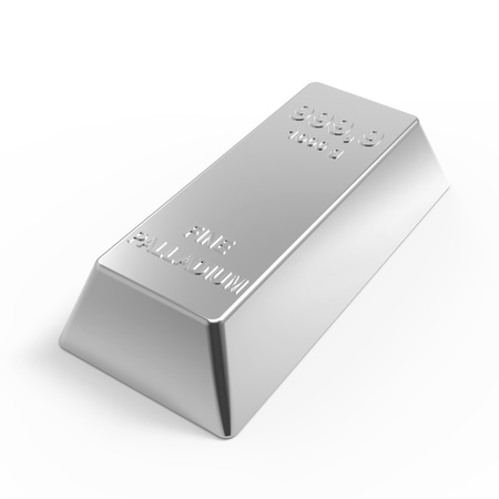 Palladium ingot isolated on white. Computer generated 3D photo rendering.