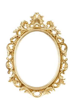Photo for Oval gold picture frame isolated with clipping path. - Royalty Free Image