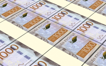 Swedish kronor bills stacked background. Computer generated 3D photo rendering.