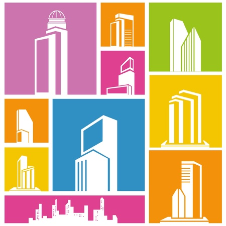 city, metropolis background, building icon, colorful background