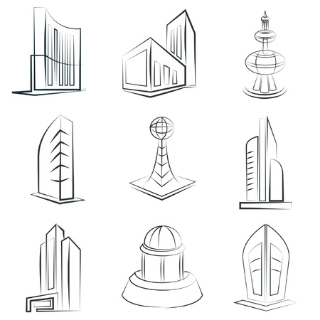 sketched building icons