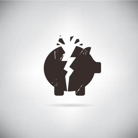 broken piggy bank symbol