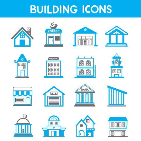 building icons, map elements blue theme
