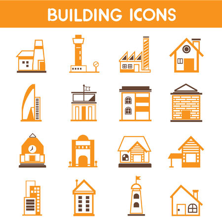 building icons, map elements orange theme