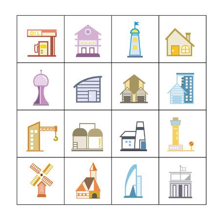 cute building icons set, map elements