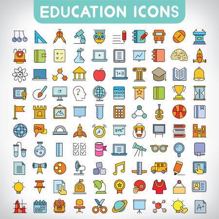 Illustration pour education icons - image libre de droit