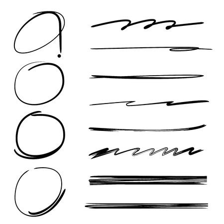hand drawn circle highlighter, brush stroke