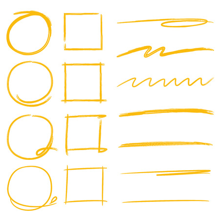 highlighter elements, circle markers, rectangle frames, oval markers, underlines