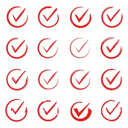 Red hand drawn check list set