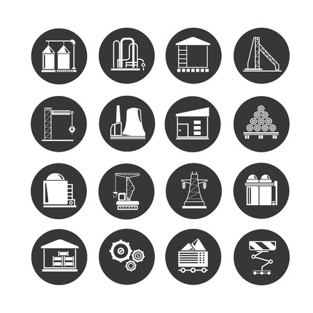 industrial building icon set in circle buttons