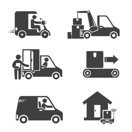 shipping and delivery service people icons
