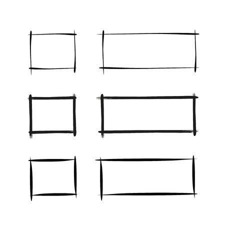 Illustration pour grunge and hand drawn rectangle border frames - image libre de droit