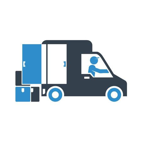 truck delivery icon on white background