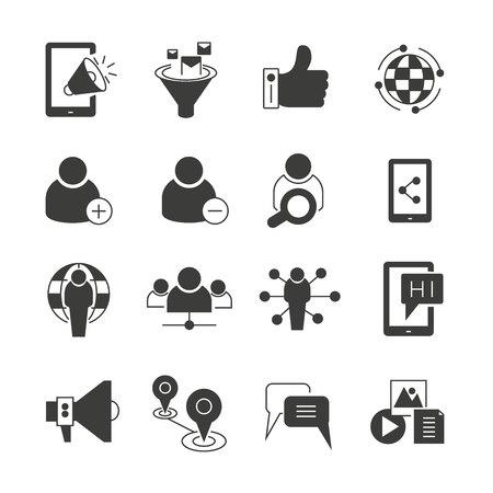 Illustration pour social media, seo and network icons set - image libre de droit