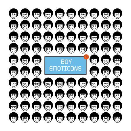 boy face emoticon icons set