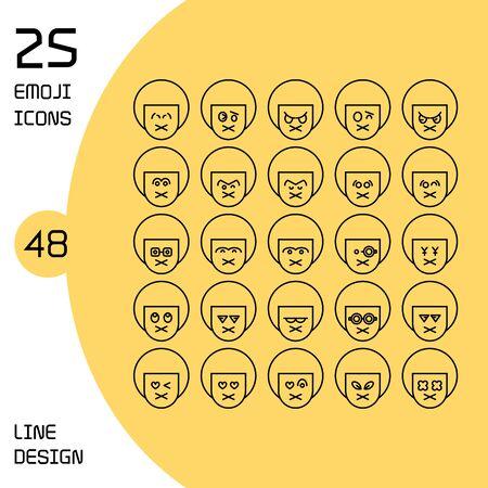 boy profile avatar emoticons set line theme