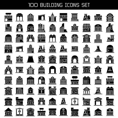 Illustration pour big set of building, tower city icons vector - image libre de droit