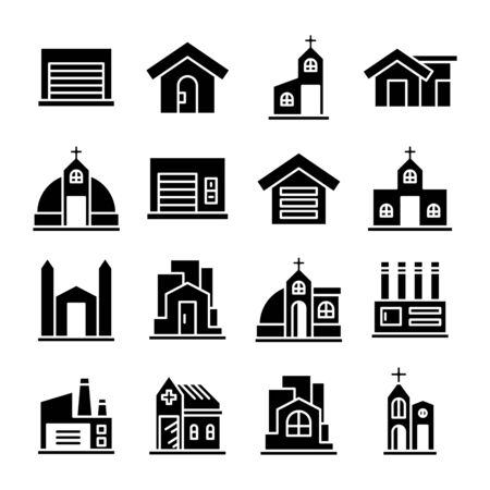 Illustration for building and architectural icons set vector - Royalty Free Image