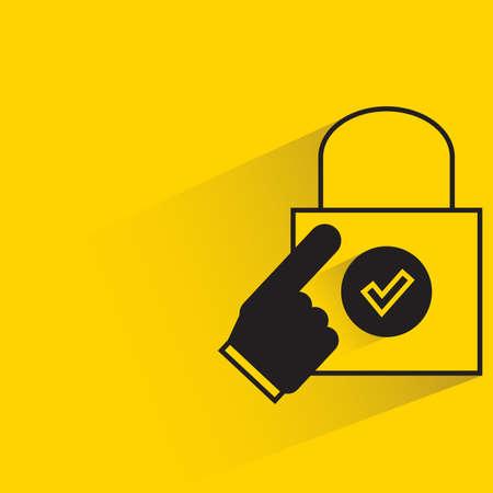 Illustration pour finger touching on shopping bag on yellow background - image libre de droit