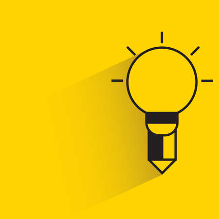 Illustration for light bulb pencil for creativity concept with shadow yellow background - Royalty Free Image