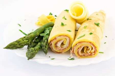crepes stuffed with ham and provolone sweet