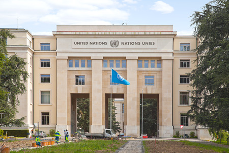 SWITZERLAND, GENEVA - May 06.2014: Palace of Nations.  Representative office of the United Nations in Europe on questions of maintenance of the world and protection of human rights