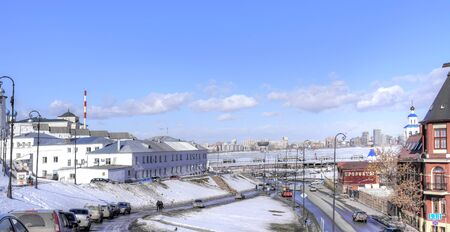 RUSSIA, REPUBLIC TATARSTAN, KAZAN - March 18.2014: View of the river Kazanka, waterfront and city street