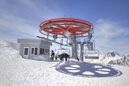 DOMBAY, RUSSIA - May 03.2015: Station of Aerial lift on a mountain Mussa-Achitara