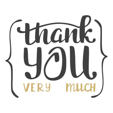 Illustration pour Thank you very much. Hand lettering inscription. - image libre de droit