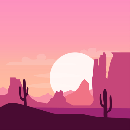 Illustration pour Desert landscape background with cactus silhouette on sunset - image libre de droit