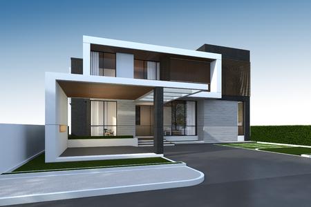 Photo pour 3D rendering of tropical house exterior with clipping path. - image libre de droit
