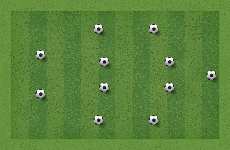 4-4-2 Soccer game tactic. Layout position for coach. Vector illustration.